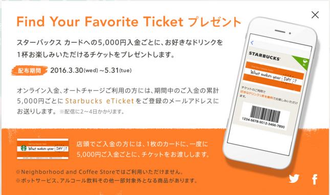 スタバの無料チケット